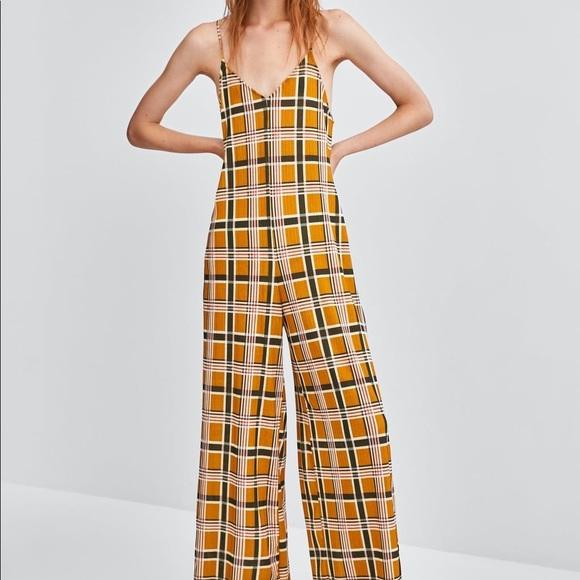 Zara Pants - Zara mustard plaid flowy jumpsuit with straps